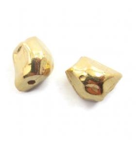 2 componenti pepita argento 925 placcato oro giallo irregolari di 9x7 mm circa