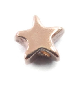 2 componenti stella 6x5 mm foro 2,5 mm argento 925 placcato oro rosa