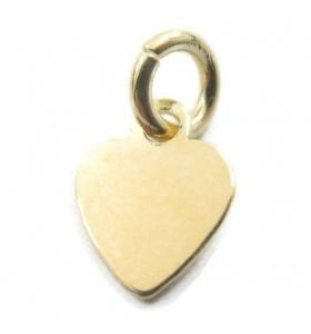 ciondolo charms cuore piccolo in argento 925 placcato oro giallo misure 9x7 mm