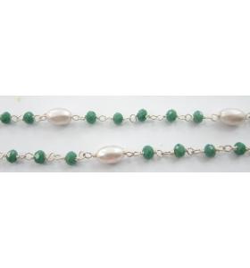 50 cm catena rosario argento color cristallo verde e perle ovali