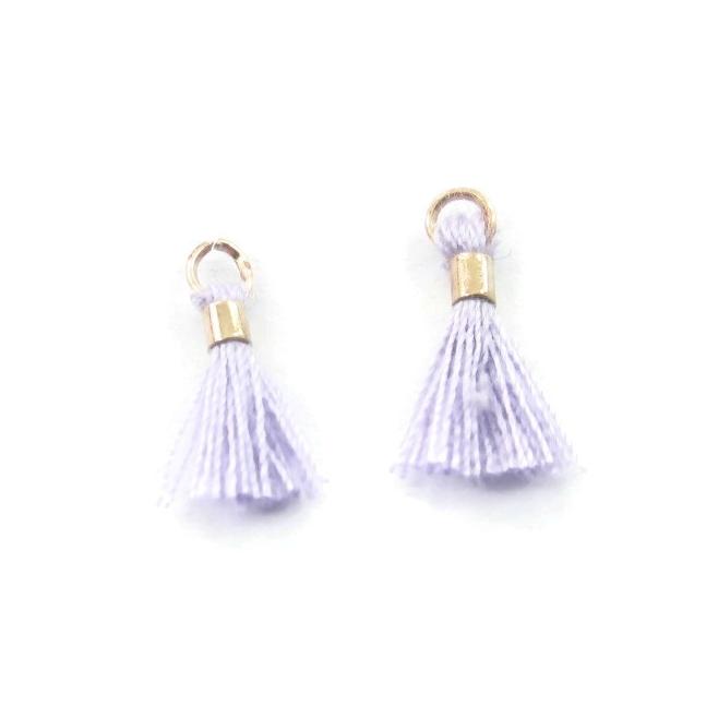 micro nappine color lilla con anellino e tubino in ottone dorato