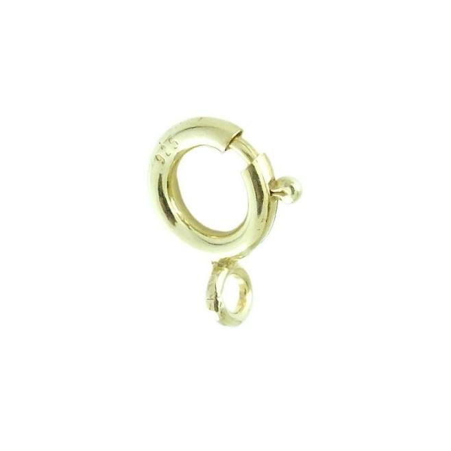 moschettone tondo   piccolo di 5 mm argento 925 placcato oro giallo made in italy 2 pz.