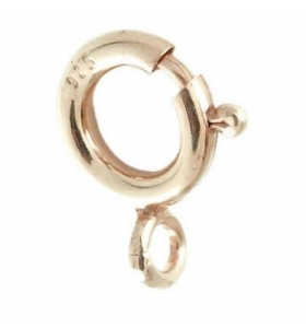 moschettone tondo   piccolo di 8 mm argento 925 placcato oro rosa made in italy 1 pz.