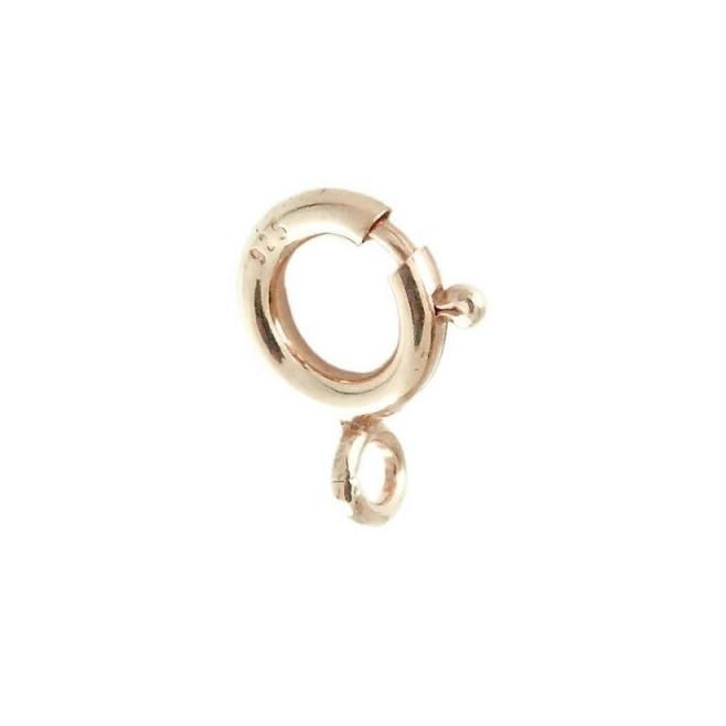 moschettone tondo piccolo di 8 mm argento 925 placcato oro rosa made in italy 1 pz.