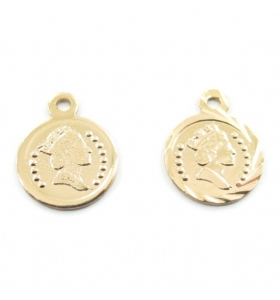 4 ciondoli charms moneta  regina argentate di 11,5x9 mm