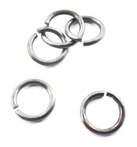 anellini aperti di 3,5 mm argento brunito nero 6 pz.