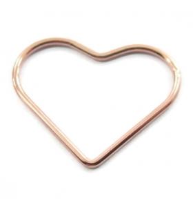 connettore cuore filo liscio argento 925 placcato oro rosa 20 x 16 mm 2 pezzi