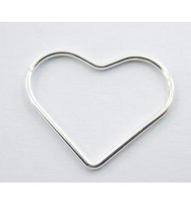 connettore cuore filo liscio argento 925 20 x 16 mm 2 pezzi