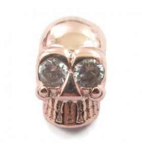 charms  teschio in argento 925 occhi zircone 10x6 mm 1pz