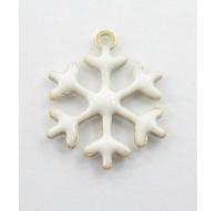 Charms fiocco di neve smalto bianco in argento 925 placcato oro giallo 13,5x12 mm