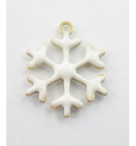 Charms fiocco di neve smalto bianco in argento 925 rodiato 13,5x12 mm