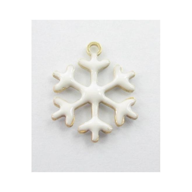 Charms fiocco di neve smalto bianco in argento 925 placcato oro rosa  13,5x12 mm