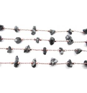 catena rosario 50 cm acciaio placcato oro rosacon chips ossidiana fiocco di neve