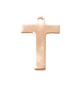 1 ciondolo charms piccola lettera T in argento 925 placcato oro rosa