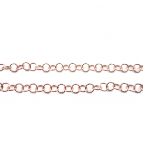 catena in argento 925 10 cm placcata oro rosso anellini 3,5X0,5 mm