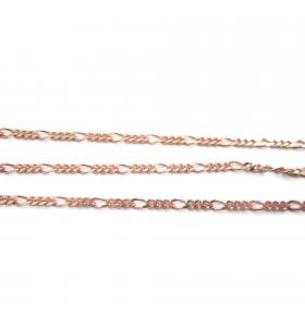 catena grumetta argento 925 10 cm placcata oro rosso 2x1 mm