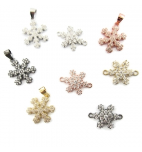 connettore fiocco di neve pavè di zirconi bianchi argento 925 rodio nero 1 pz
