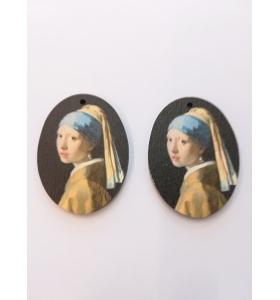 2 basi orecchino serie art ragazza con l'orecchino di perla