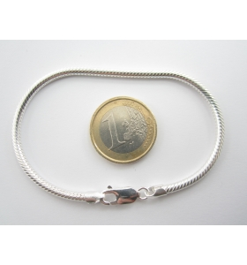 bracciale snake in argento 925 di produzione italiana del diametro di 3 mm