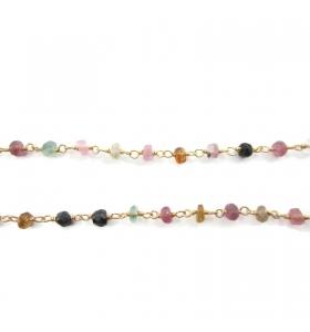 catena rosario argento 925 dorato e tormaline 10 cm