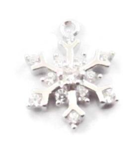 charms ciondolo fiocco di neve piccolo zirconi bianchi argento 925 rodiato