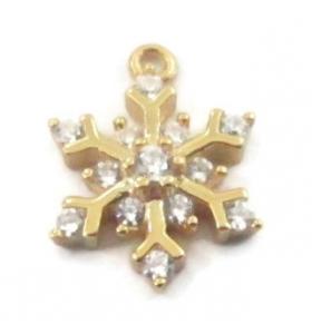 charms ciondolo fiocco di neve piccolo zirconi bianchi argento 925 placcato oro giallo