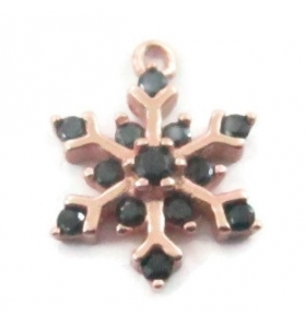 charms ciondolo fiocco di neve piccolo zirconi neri argento 925 placcato oro rosè