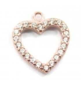 charms ciondolo cuore e zirconi neri argento 925 placcato oro rosa