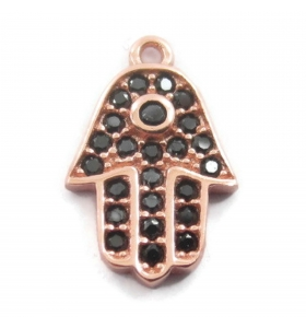 charms ciondolo mano di fatima e zirconi neri 13 mm argento 925 placcato oro rosa