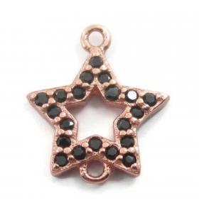connettore stella zirconi neri argento 925 placcato oro rosè