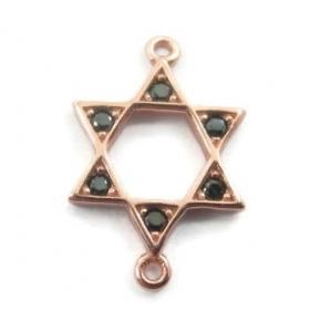 connettore stella di david zirconi neri argento 925 placcato oro rosè