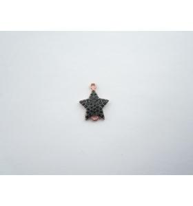 connettore stella 14x10 mm pavè zirconi neri argento 925 placcato oro rosè