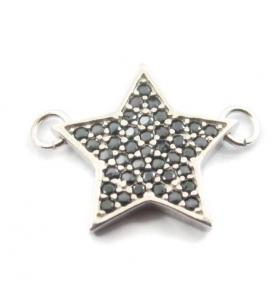 connettore stella 15x12mm pavè zirconi neri argento 925 rodiato