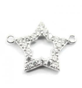 connettore stella 17x12mm contorno zirconi bianchi argento 925 rodiato