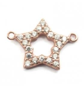 connettore stella 17x12mm contorno zirconi bianchi argento 925 placcato oro rosè