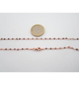 catenina modello mimì lunga 89 cm in argento 925 placcato rosè made in italy