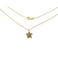 catenina modello pallini sfaccettati e charms stella zirconi neri argento 925 placcato oro giallo 1 pz