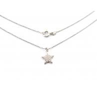 catenina modello pallini sfaccettati e charms stella zirconi bianchi argento 925 rodiata 1 pz