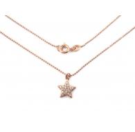 catenina modello pallini sfaccettati e charms stella zirconi bianchi argento 925 placcato oro rosè 1 pz