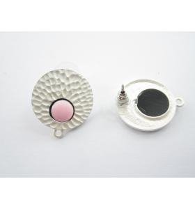 coppia orecchini zama modello tondo martellato  dorato effetto lucido smalto rosa