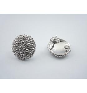 1 paio di basi orecchino bottone puntinati a sbalzo in argento 925 diam. 15 mm