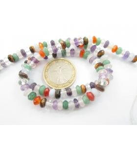 filo pietre mix color taglio rondella sfaccettato fine di 6x3 mm  -1 pz.