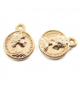 2 ciondoli charms moneta regina dorata di 15x12 mm