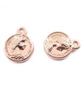 2 ciondoli charms moneta regina ramata di 15x12 mm