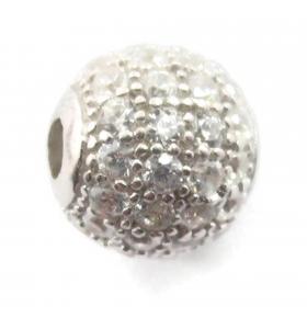 Distanziatore pallina con zirconi bianchi argento 925 rodiato nero 6 mm - 1 pz