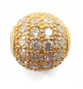Distanziatore pallina con zirconi bianchi argento 925 placcato oro giallo 6 mm - 1 pz