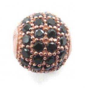Distanziatore pallina con zirconi blu argento 925 placcato oro rosè 6 mm - 1 pz