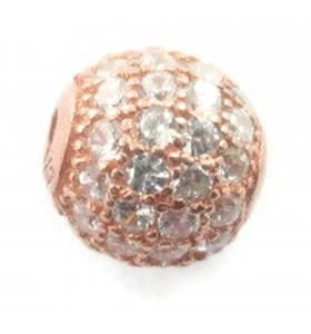 Distanziatore pallina con zirconi bianchi argento 925 placcato oro rosè 6 mm - 1 pz