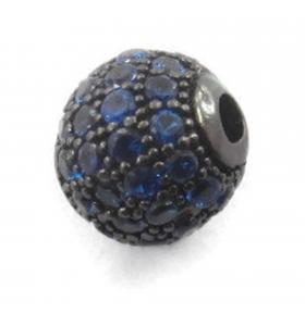 Distanziatore pallina con zirconi blu argento 925 rodiato nero 6 mm - 1 pz