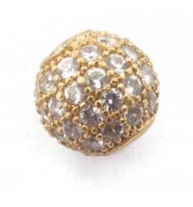 Distanziatore pallina con zirconi bianchi argento 925 placcato oro giallo 8 mm - 1 pz